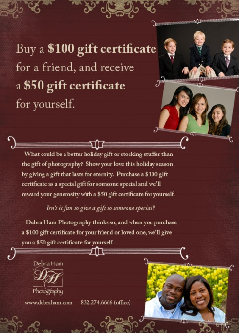 Debra Ham Photography Gift Certificate